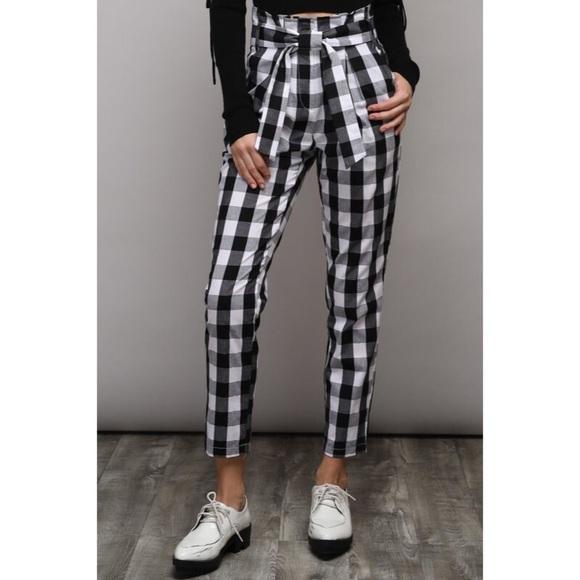 Pants - Black White Check High Waist Tie Pants